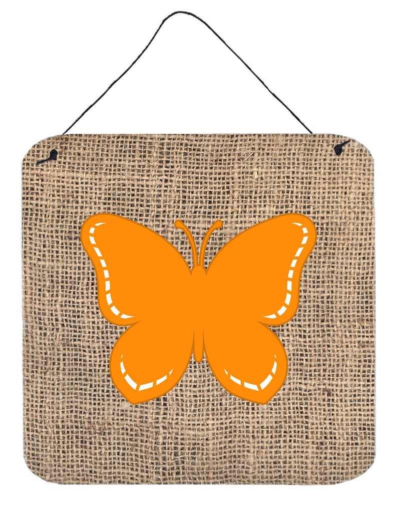 Buy this Butterfly Burlap and Orange Aluminium Metal Wall or Door Hanging Prints BB1035