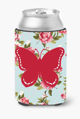 Buy this Butterfly Shabby Chic Blue Roses Can or Bottle Beverage Insulator Hugger BB1035
