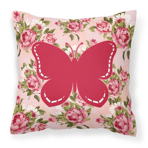 Buy this Butterfly Shabby Chic Pink Roses  Fabric Decorative Pillow BB1035-RS-PK-PW1414