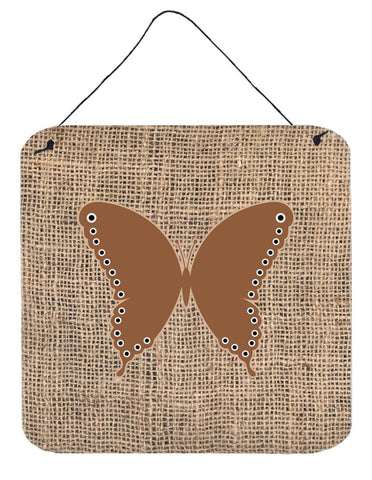 Buy this Butterfly Burlap and Brown Aluminium Metal Wall or Door Hanging Prints BB1036