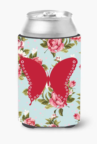 Buy this Butterfly Shabby Chic Blue Roses Can or Bottle Beverage Insulator Hugger BB1036