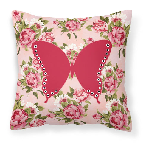 Buy this Butterfly Shabby Chic Pink Roses  Fabric Decorative Pillow BB1036-RS-PK-PW1414