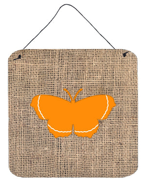Butterfly Burlap and Orange Aluminium Metal Wall or Door Hanging Prints BB1037 - the-store.com