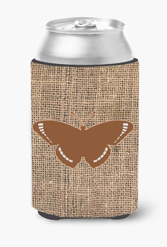 Butterfly Burlap and Brown Can or Bottle Beverage Insulator Hugger by Caroline's Treasures