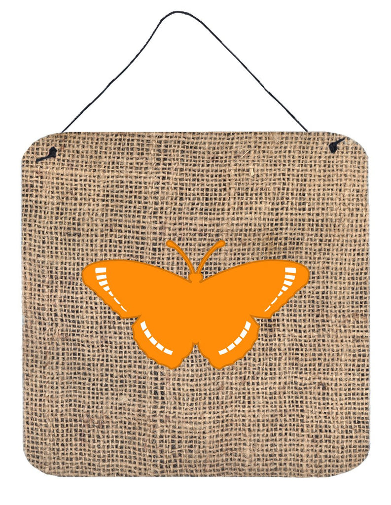 Buy this Butterfly Burlap and Orange Aluminium Metal Wall or Door Hanging Prints BB1038
