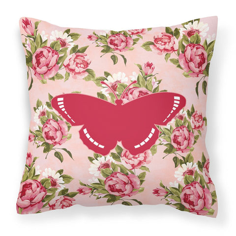 Buy this Butterfly Shabby Chic Pink Roses  Fabric Decorative Pillow BB1038-RS-PK-PW1414