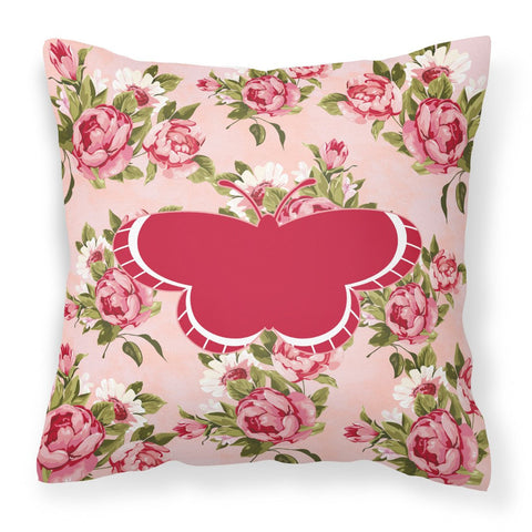 Buy this Butterfly Shabby Chic Pink Roses  Fabric Decorative Pillow BB1039-RS-PK-PW1414
