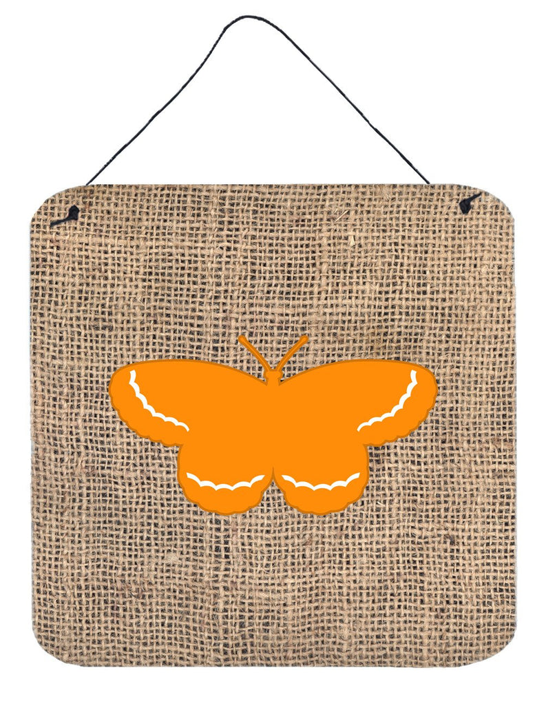 Buy this Butterfly Burlap and Orange Aluminium Metal Wall or Door Hanging Prints BB1040