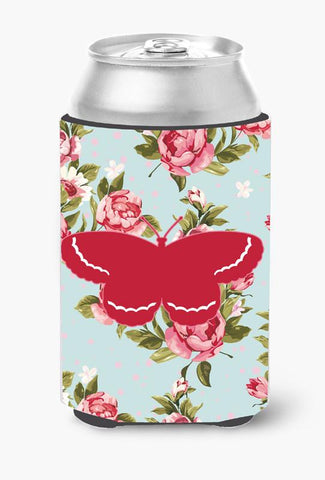 Buy this Butterfly Shabby Chic Blue Roses Can or Bottle Beverage Insulator Hugger BB1040