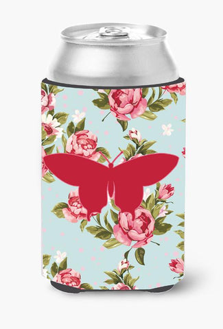 Buy this Butterfly Shabby Chic Blue Roses Can or Bottle Beverage Insulator Hugger BB1042