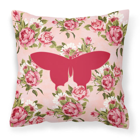 Buy this Butterfly Shabby Chic Pink Roses  Fabric Decorative Pillow BB1042-RS-PK-PW1414