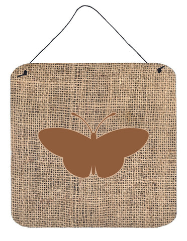Buy this Butterfly Burlap and Brown Aluminium Metal Wall or Door Hanging Prints BB1043