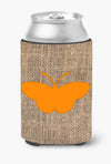 Butterfly Burlap and Orange Can or Bottle Beverage Insulator Hugger BB1043 by Caroline's Treasures