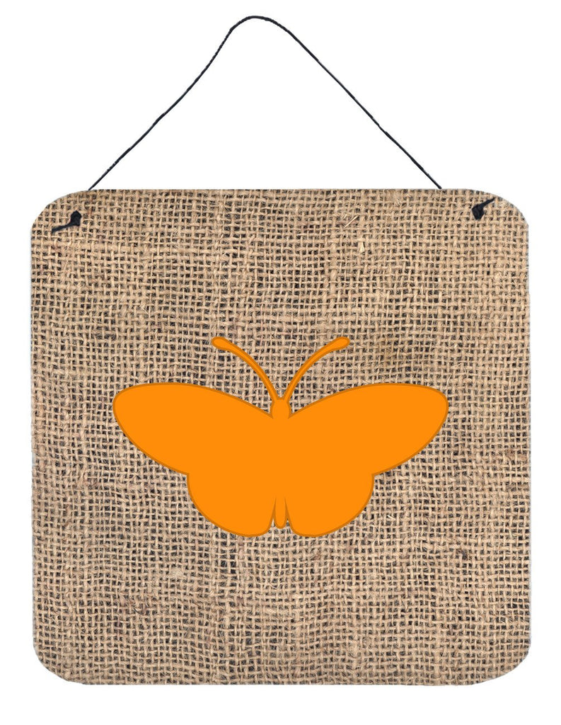 Buy this Butterfly Burlap and Orange Aluminium Metal Wall or Door Hanging Prints BB1043
