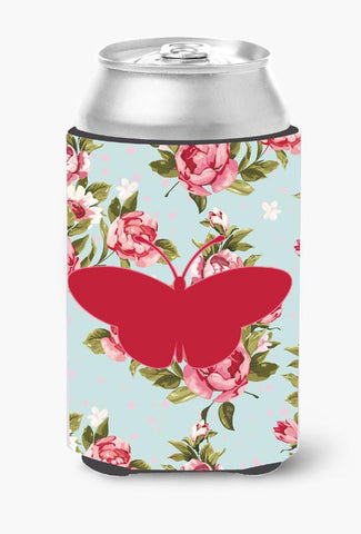 Buy this Butterfly Shabby Chic Blue Roses Can or Bottle Beverage Insulator Hugger BB1043