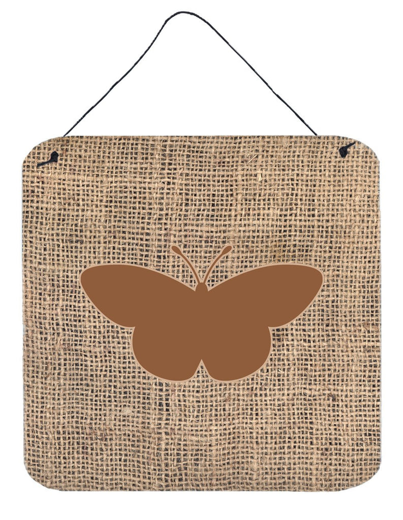 Buy this Butterfly Burlap and Brown Aluminium Metal Wall or Door Hanging Prints BB1044