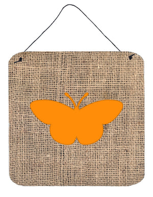 Butterfly Burlap and Orange Aluminium Metal Wall or Door Hanging Prints BB1044 - the-store.com
