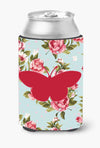 Buy this Butterfly Shabby Chic Blue Roses Can or Bottle Beverage Insulator Hugger BB1044