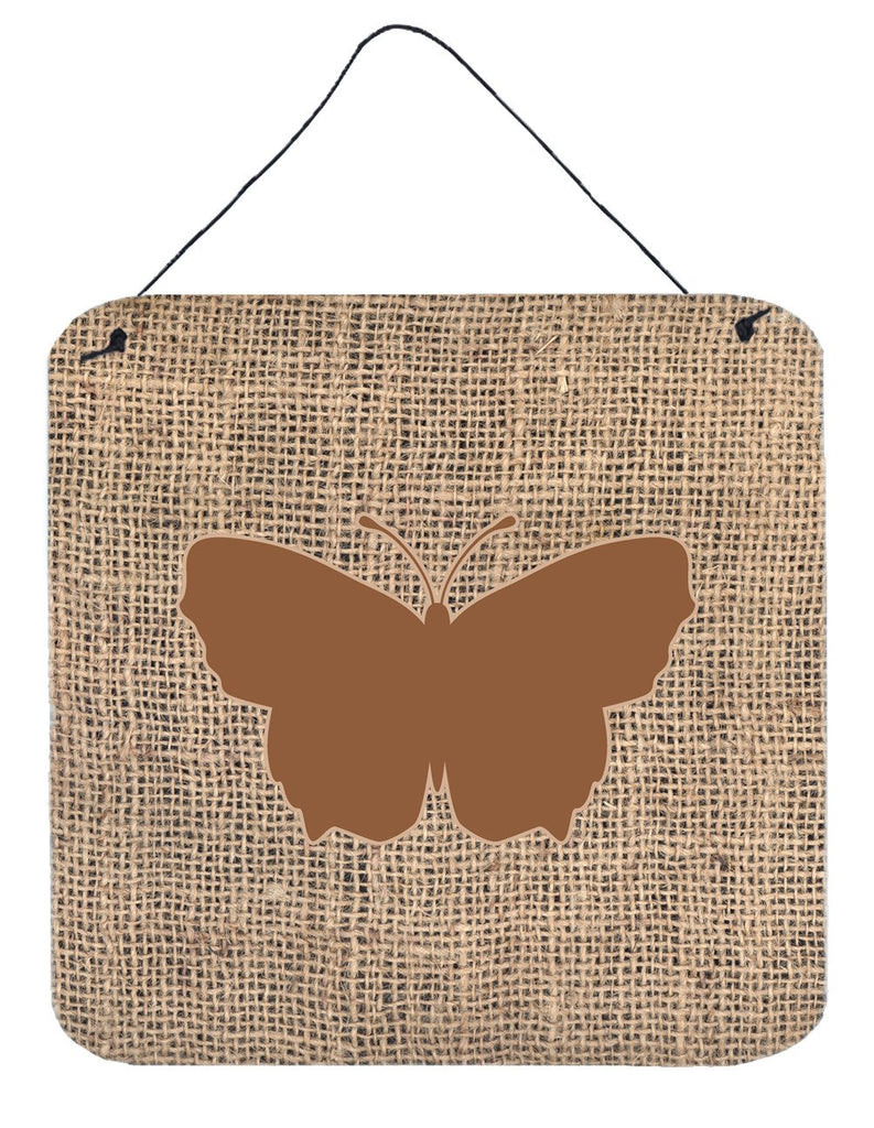 Buy this Butterfly Burlap and Brown Aluminium Metal Wall or Door Hanging Prints BB1045