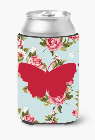 Buy this Butterfly Shabby Chic Blue Roses Can or Bottle Beverage Insulator Hugger BB1045