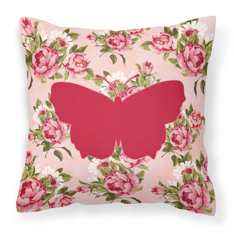 Buy this Butterfly Shabby Chic Pink Roses  Fabric Decorative Pillow BB1045-RS-PK-PW1414