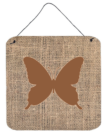 Buy this Butterfly Burlap and Brown Aluminium Metal Wall or Door Hanging Prints BB1046