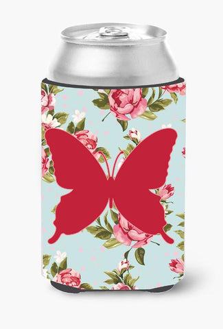 Buy this Butterfly Shabby Chic Blue Roses Can or Bottle Beverage Insulator Hugger BB1046