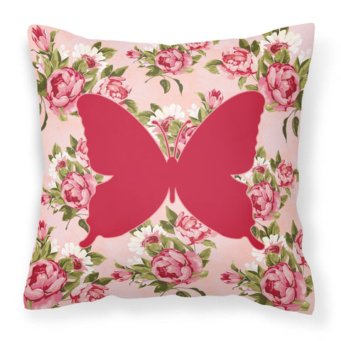 Buy this Butterfly Shabby Chic Pink Roses  Fabric Decorative Pillow BB1046-RS-PK-PW1414