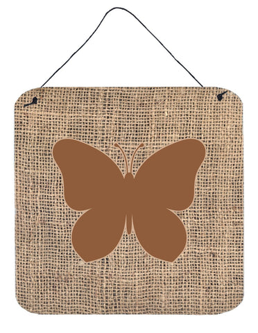 Buy this Butterfly Burlap and Brown Aluminium Metal Wall or Door Hanging Prints BB1047