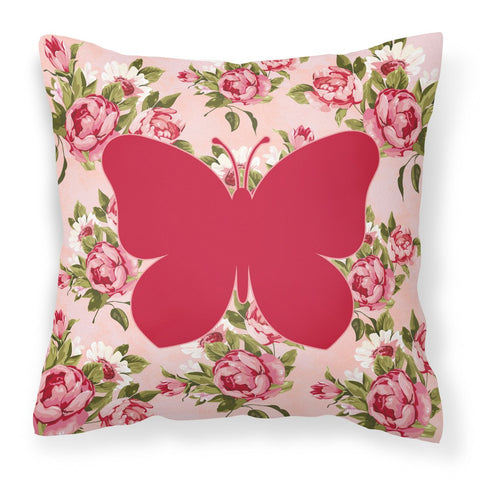 Buy this Butterfly Shabby Chic Pink Roses  Fabric Decorative Pillow BB1047-RS-PK-PW1414