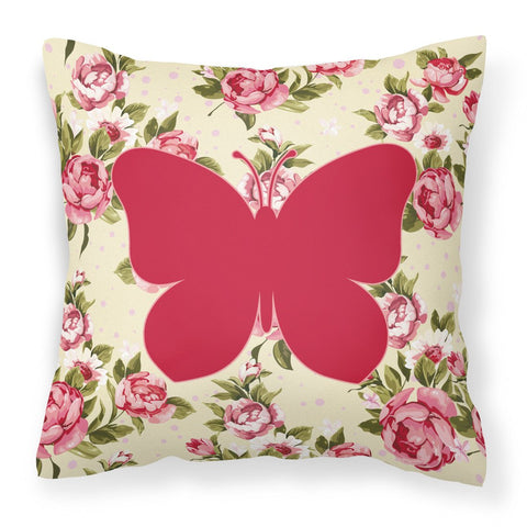 Buy this Butterfly Shabby Chic Yellow Roses  Fabric Decorative Pillow BB1047-RS-YW-PW1414