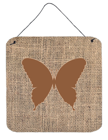 Buy this Butterfly Burlap and Brown Aluminium Metal Wall or Door Hanging Prints BB1048