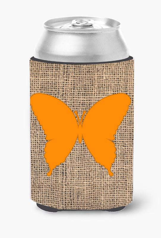Buy this Butterfly Burlap and Orange Can or Bottle Beverage Insulator Hugger BB1048