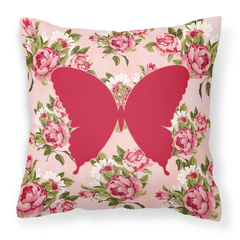 Buy this Butterfly Shabby Chic Pink Roses  Fabric Decorative Pillow BB1048-RS-PK-PW1414
