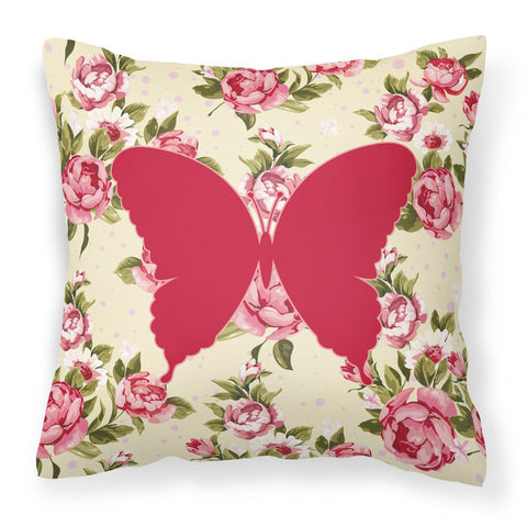 Buy this Butterfly Shabby Chic Yellow Roses  Fabric Decorative Pillow BB1048-RS-YW-PW1414
