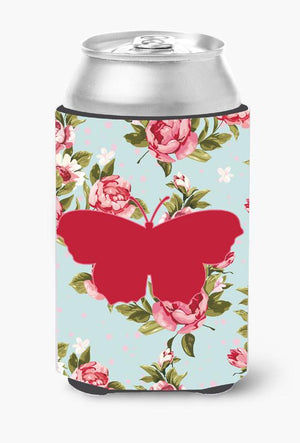 Buy this Butterfly Shabby Chic Blue Roses Can or Bottle Beverage Insulator Hugger BB1049