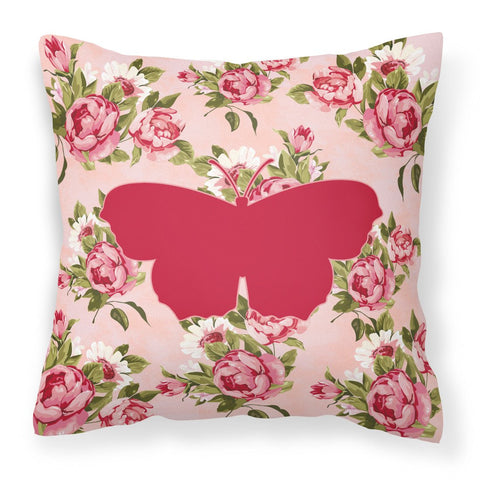 Buy this Butterfly Shabby Chic Pink Roses  Fabric Decorative Pillow BB1049-RS-PK-PW1414