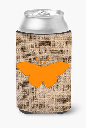 Buy this Butterfly Burlap and Orange Can or Bottle Beverage Insulator Hugger BB1050