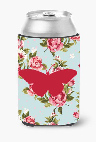 Buy this Butterfly Shabby Chic Blue Roses Can or Bottle Beverage Insulator Hugger BB1050