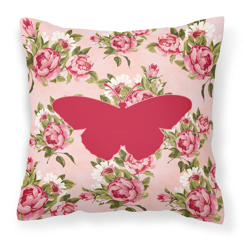 Buy this Butterfly Shabby Chic Pink Roses  Fabric Decorative Pillow BB1050-RS-PK-PW1414