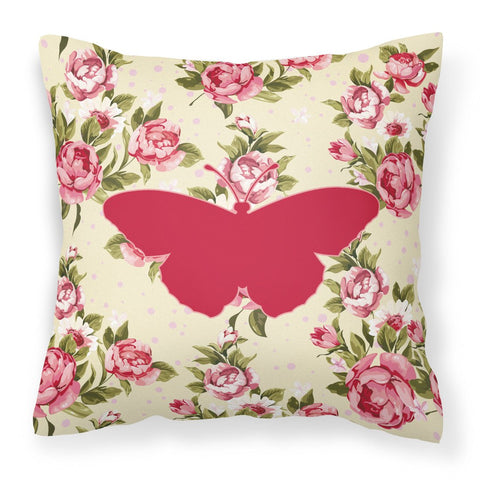 Buy this Butterfly Shabby Chic Yellow Roses  Fabric Decorative Pillow BB1050-RS-YW-PW1414