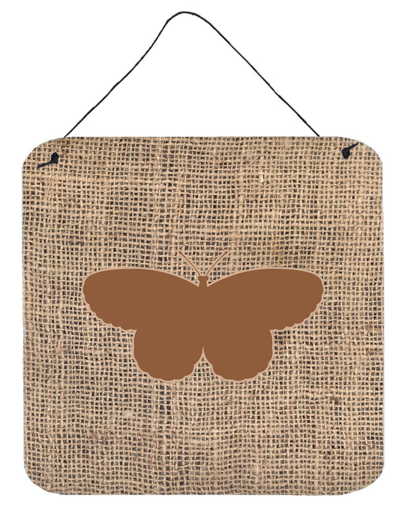 Buy this Butterfly Burlap and Brown Aluminium Metal Wall or Door Hanging Prints BB1052