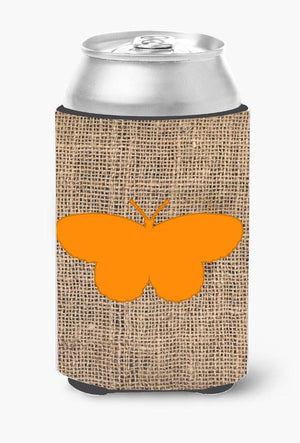 Buy this Butterfly Burlap and Orange Can or Bottle Beverage Insulator Hugger