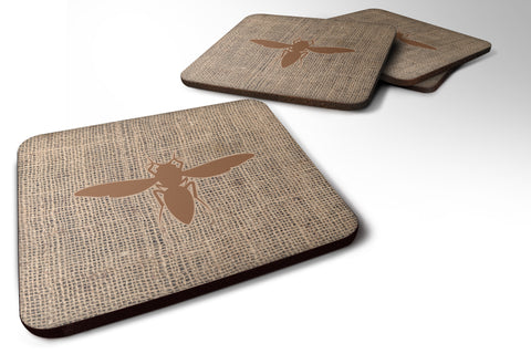 Buy this Set of 4 Yellow Jacket Burlap and Brown Foam Coasters