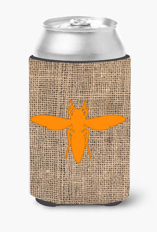 Buy this Yellow Jacket Burlap and Orange Can or Bottle Beverage Insulator Hugger