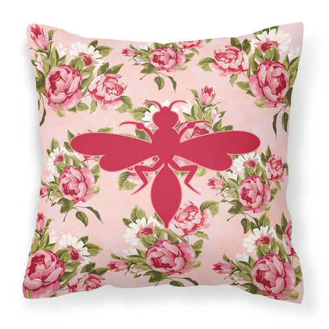 Buy this Wasp Shabby Chic Pink Roses  Fabric Decorative Pillow BB1054-RS-PK-PW1414