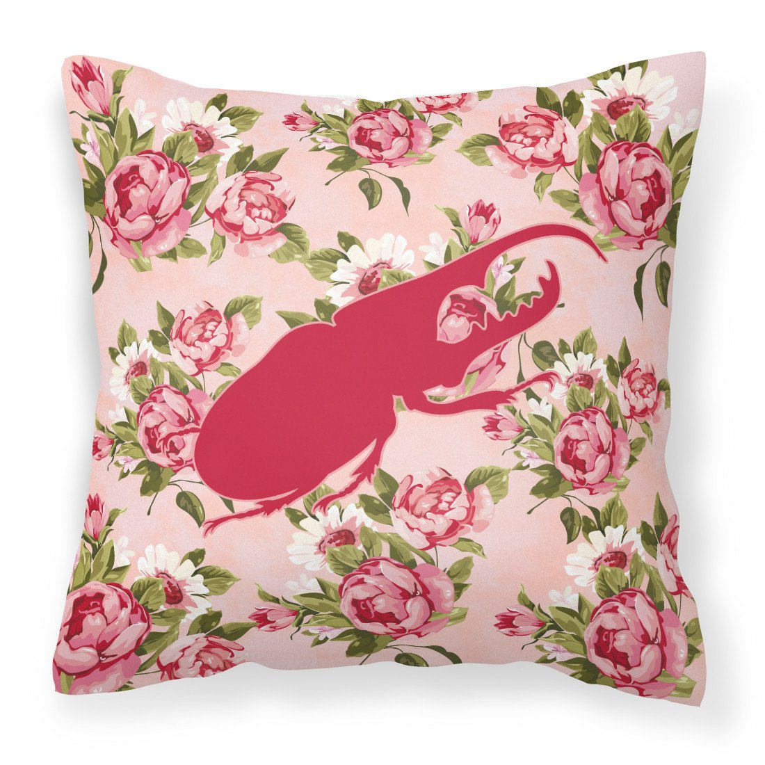 Beetle Shabby Chic Pink Roses  Fabric Decorative Pillow BB1056-RS-PK-PW1414 - the-store.com