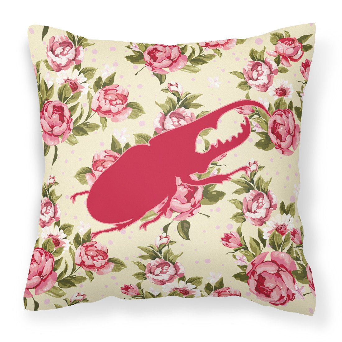 Beetle Shabby Chic Yellow Roses  Fabric Decorative Pillow BB1056-RS-YW-PW1414 - the-store.com