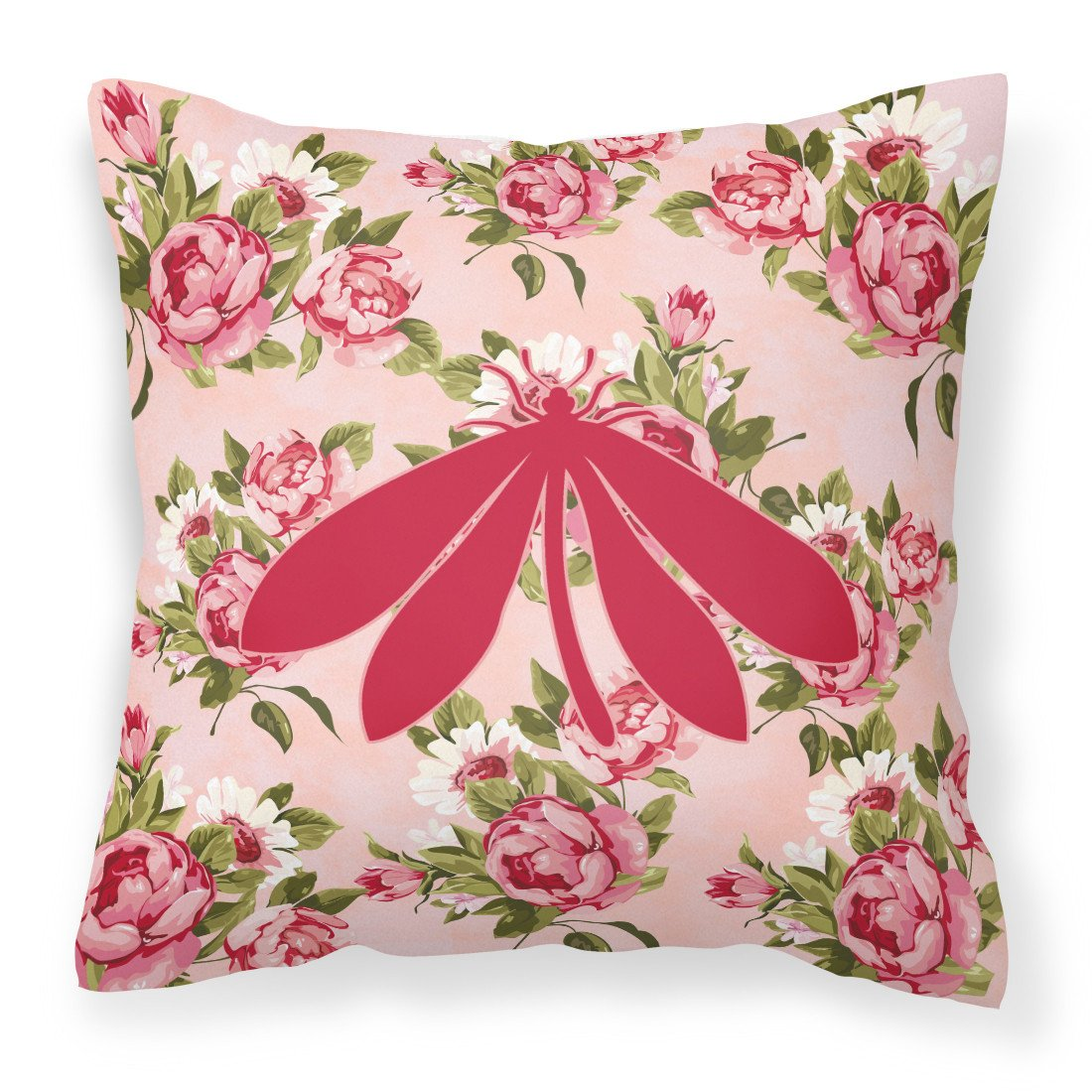 Moth Shabby Chic Pink Roses  Fabric Decorative Pillow BB1060-RS-PK-PW1414 by Caroline's Treasures