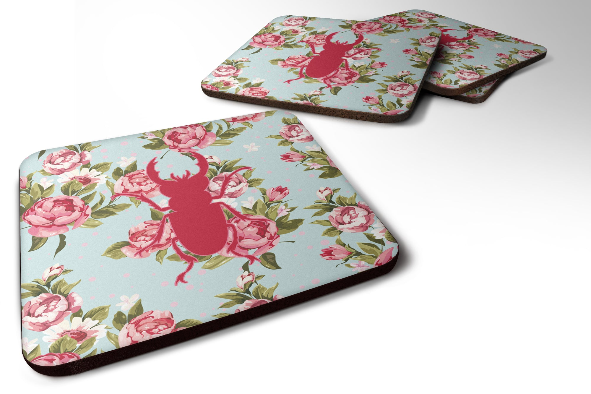Set of 4 Beetle Shabby Chic Blue Roses Foam Coasters by Caroline's Treasures